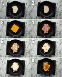 8 step by step photos showing how to make a ham grilled cheese