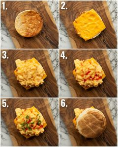 6 step by step photos showing how to make a scrambled egg sandwich