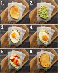 6 step by step photos showing how to make avocado egg sandwich
