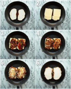 6 step by step photos showing how to make a chicken fajita sandwich