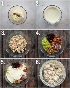 6 step by step photos showing how to make chicken salad