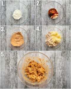 5 step by step photos showing how to make chipotle chicken