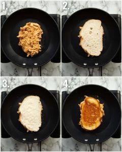 4 step by step photos showing how to make chipotle chicken grilled cheese