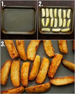 3 step by step photos showing how to make chips