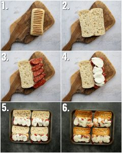 6 step by step photos showing how to make chorizo sandwich