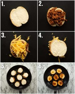 6 step by step photos showing how to make a mini grilled cheese