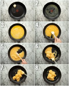 8 step by step photos showing how to make scrambled eggs