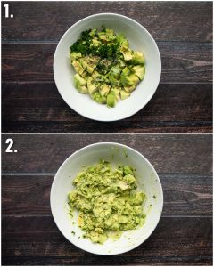 2 step by step photos showing how to make smashed avo
