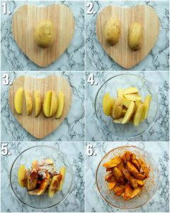 6 step by step photos showing how to make spicy wedges