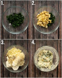 4 step by step photos showing how to make spinach artichoke