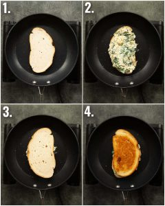 4 step by step photos showing how to make spinach artichoke grilled cheese