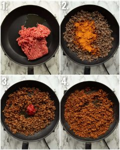 4 step by step photos showing how to make taco meat