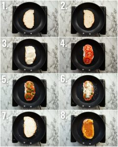8 step by step photos showing how to make a tomato grilled cheese