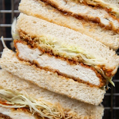 overhead shot of finger sandwiches showing filling