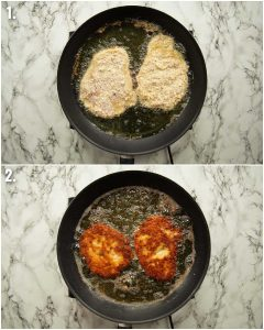2 step by step photos showing how to fry chicken parmesan