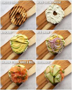 6 step by step photos showing how to make a salmon bagel sandwich