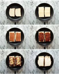 6 step by step photos showing how to make a chili cheese dog sandwich