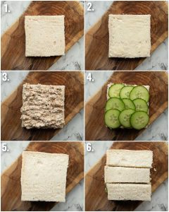 6 step by step photos showing how to make tuna cucumber sandwich