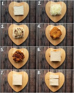 8 step by step photos showing how to make chicken katsu sandwiches