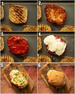 6 step by step photos showing how to make chicken parmesan sandwiches
