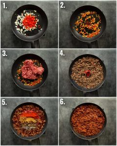 6 step by step photos showing how to make chili
