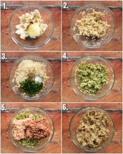 6 step by step photos showing how to make Italian meatballs