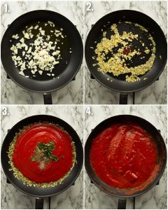 4 step by step photos showing how to make marinara sauce