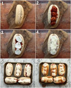 6 step by step photos showing how to make meatball subs