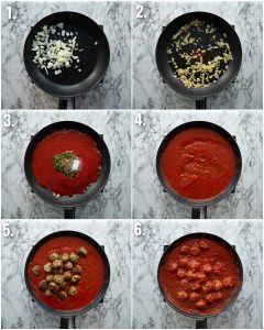 6 step by step photos showing how to make meatballs and sauce