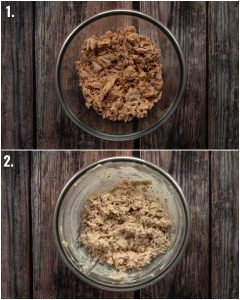 2 step by step photos showing how to make tuna mayonnaise