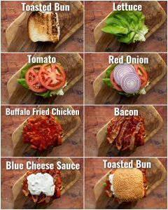 8 step by step photos showing buffalo chicken sandwich toppings