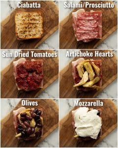 6 step by step photos showing antipasto sandwich ingredients