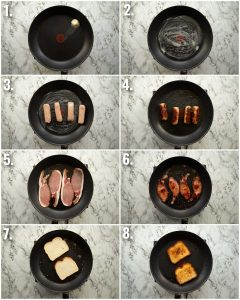 8 step by step photos showing how to fry sausages and bacon