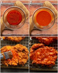 4 step by step photos showing how to glaze buffalo chicken