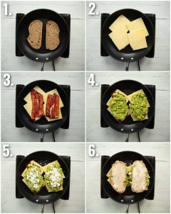 6 step by step photos showing how to make a guacamole grilled cheese
