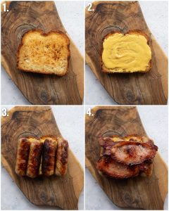 4 step by step photos showing how to make a sausage and bacon sandwich