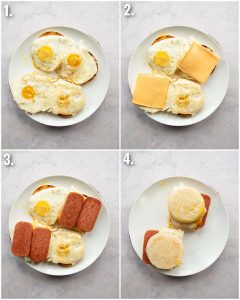 4 step by step photos showing how to make a spam sandwich
