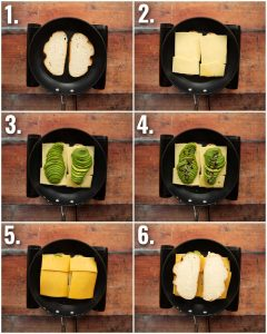 6 step by step photos showing how to make an avocado grilled cheese