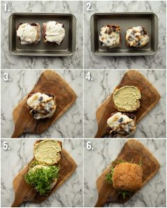 6 step by step photos showing how to make antipasto sandwiches