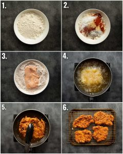 6 step by step photos showing how to make buffalo fried chicken