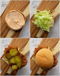 4 step by step photos showing how to make fried chicken sandwich
