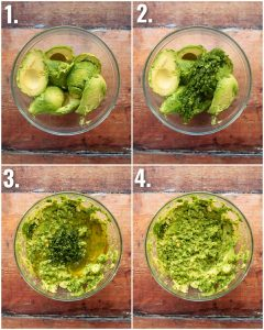 4 step by step photos showing how to make guacamole