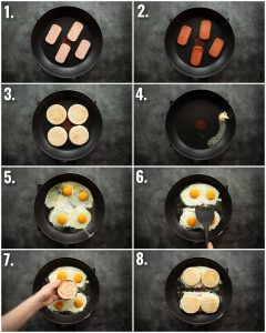 8 step by step photos showing how to make spam egg sandwich