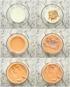 6 step by step photos showing how to marinate buffalo chicken