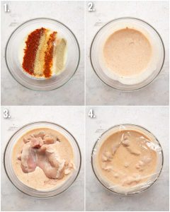 4 step by step photos showing how to marinate fried chicken