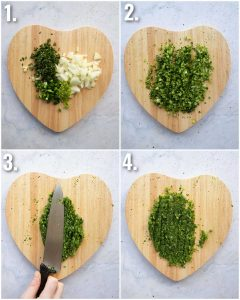 4 step by step photos showing how to prepare guacamole