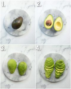 4 step by step photos showing how to slice avocado