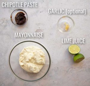 overhead shot of chipotle mayo ingredients with labels
