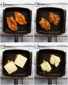 4 step by step photos showing how to marinate cajun chicken