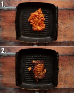 2 step by step photos showing how to grill chicken thigh